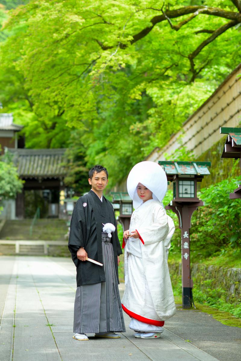 長楽寺参道での和装ロケーション撮影風景