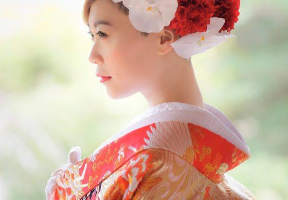 ショートカットの花嫁さまのヘアセット