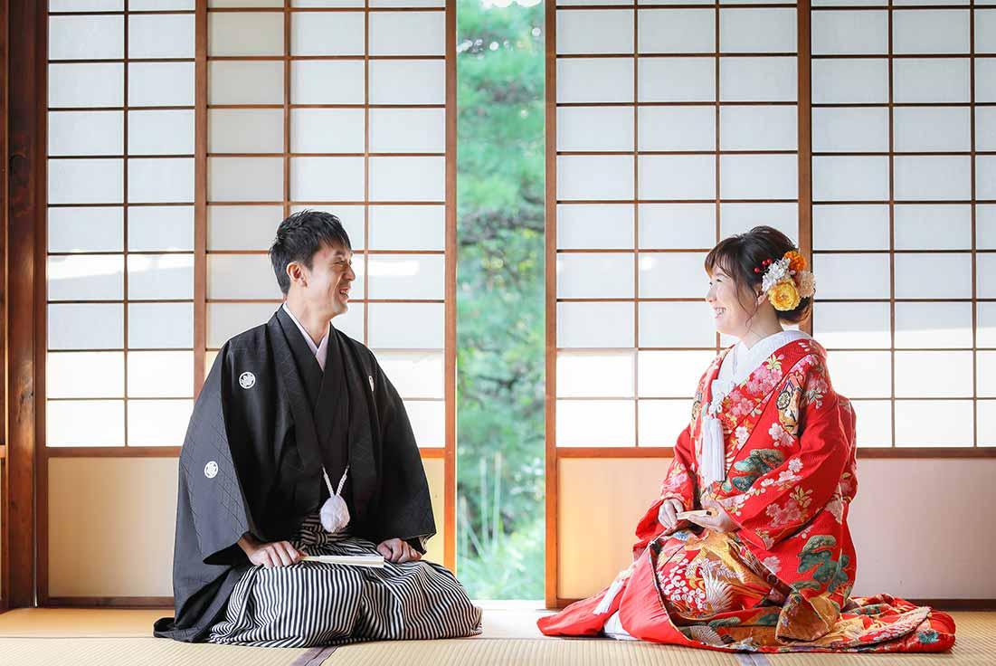 今日とのお寺の和室での和装前撮りお写真