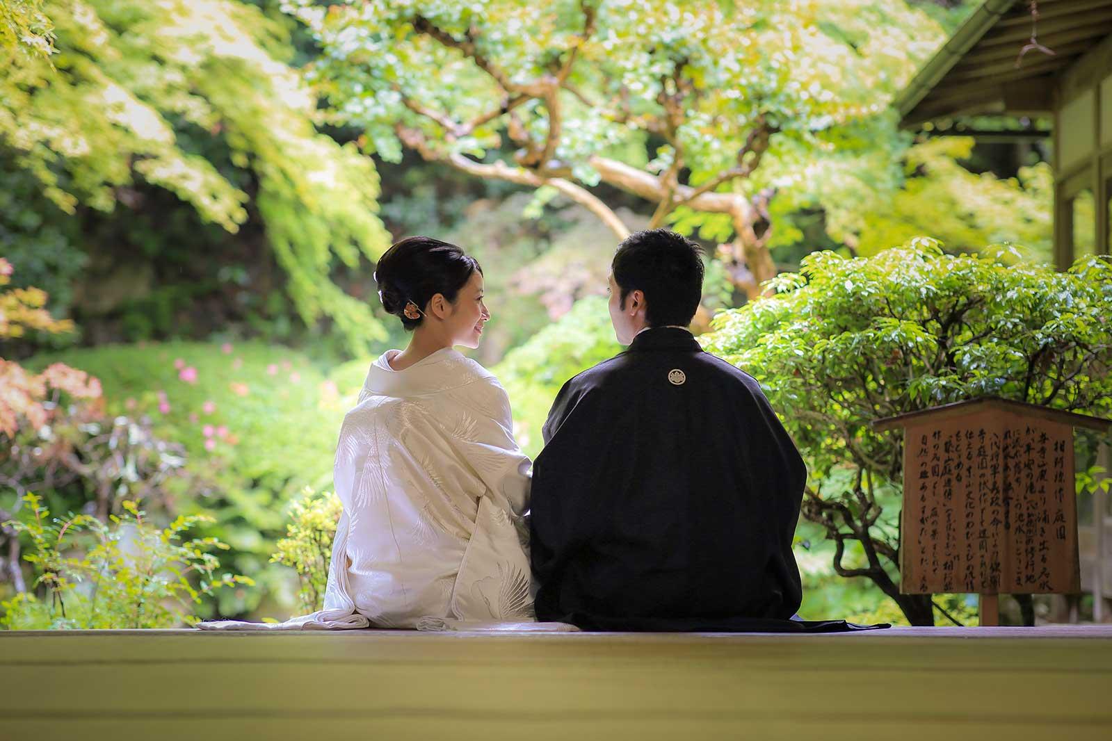 長楽寺での結婚写真撮影風景