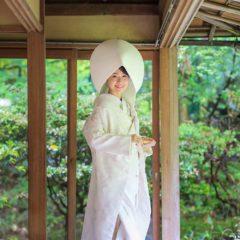 長楽寺縁側での白無垢綿帽子姿の花嫁様