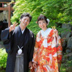 京都の寺院のお庭での前撮りお写真