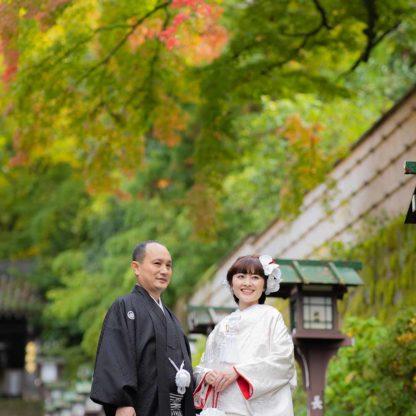 長楽寺参道での結婚写真