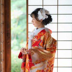 ピンクと鶴の色打掛の花嫁様
