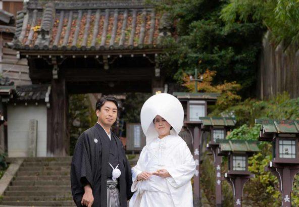 長楽寺参道での秋の和装前撮り写真