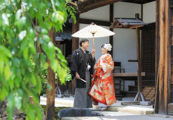 京都のお寺での和装ロケーション写真