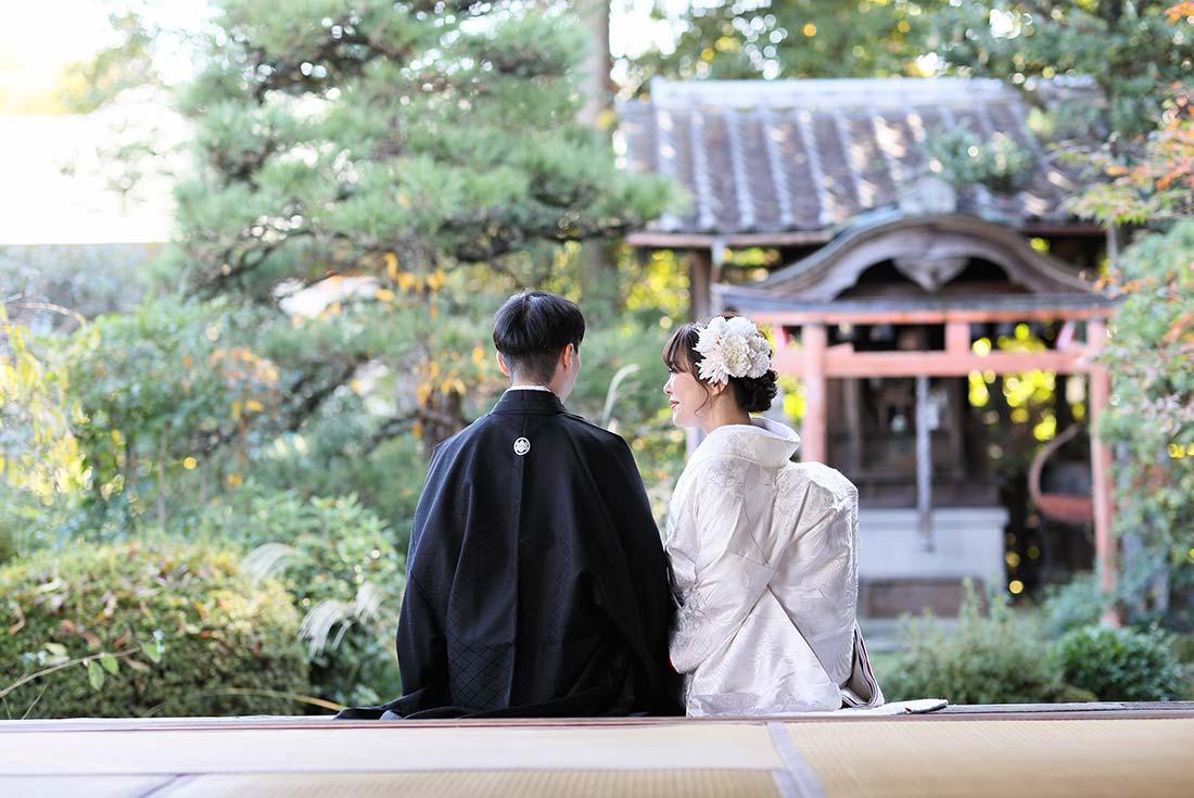 京都のお庭で和装前撮り画像