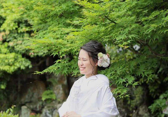 新緑をバックにした京都でのロケーション撮影お写真