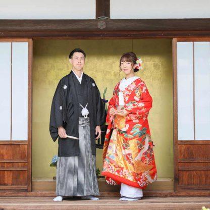 お寺の金屏風前での和装前撮りお写真
