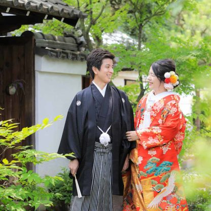 京都の新緑での前撮り写真
