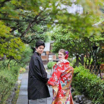 日本とフランスの国際結婚の和装写真