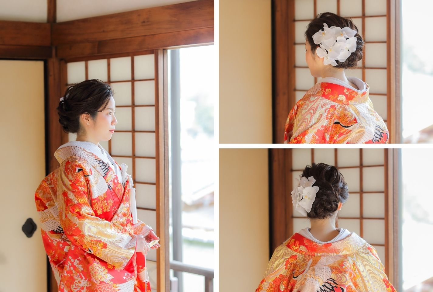色打掛と胡蝶蘭の花嫁様のヘアメイクイメージ