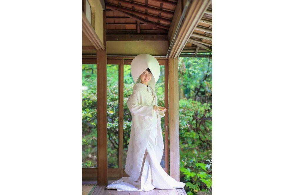 京都で雨の日に前撮り綿帽子