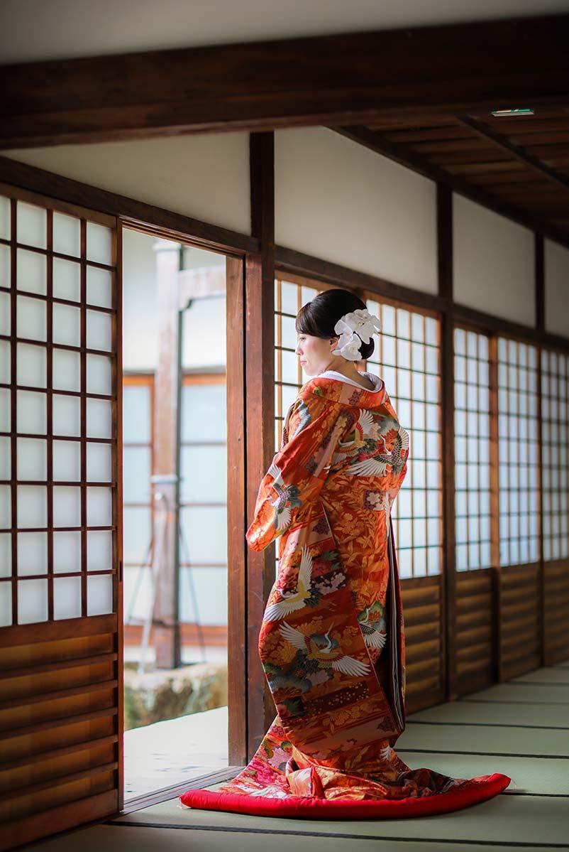 16.えんじ色–鶴
