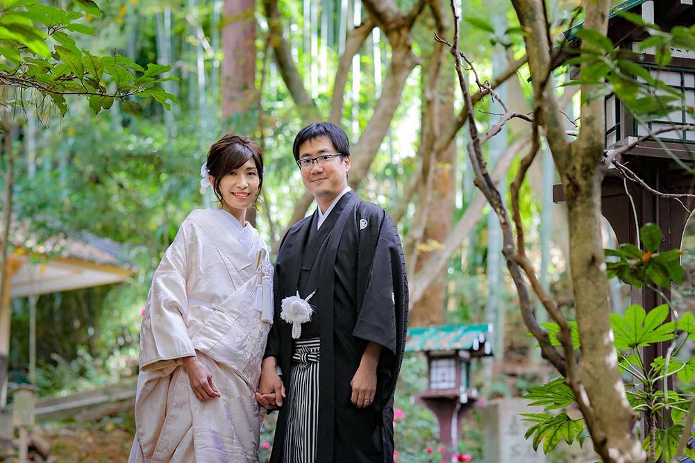 京都長楽寺境内での和装白無垢前撮り写真