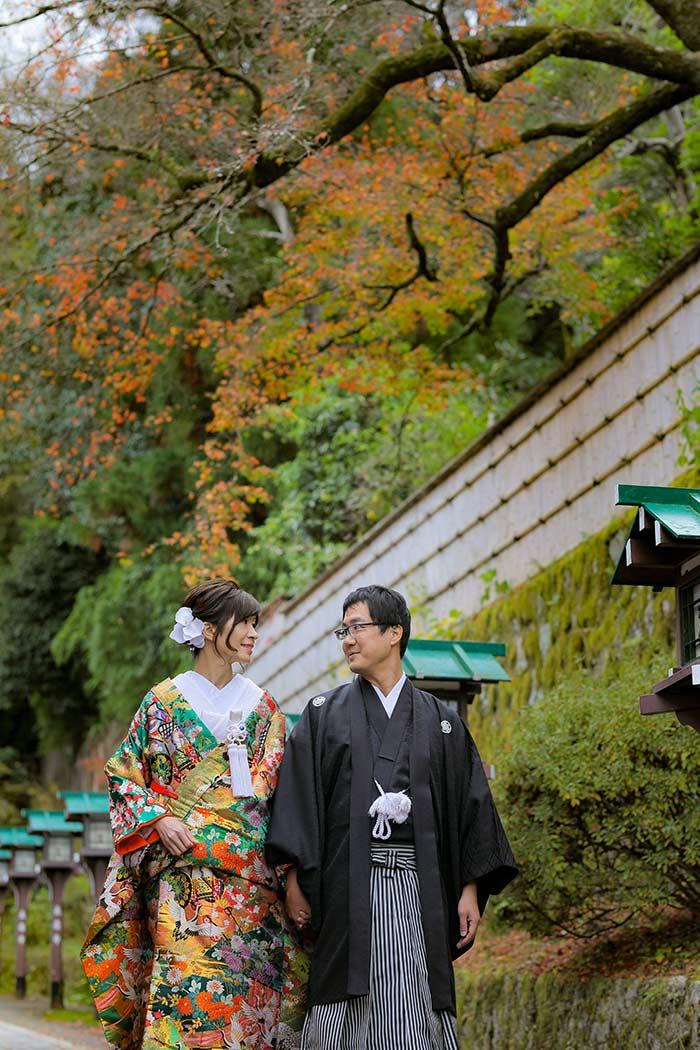 京都の紅葉での和装ロケーション前撮り