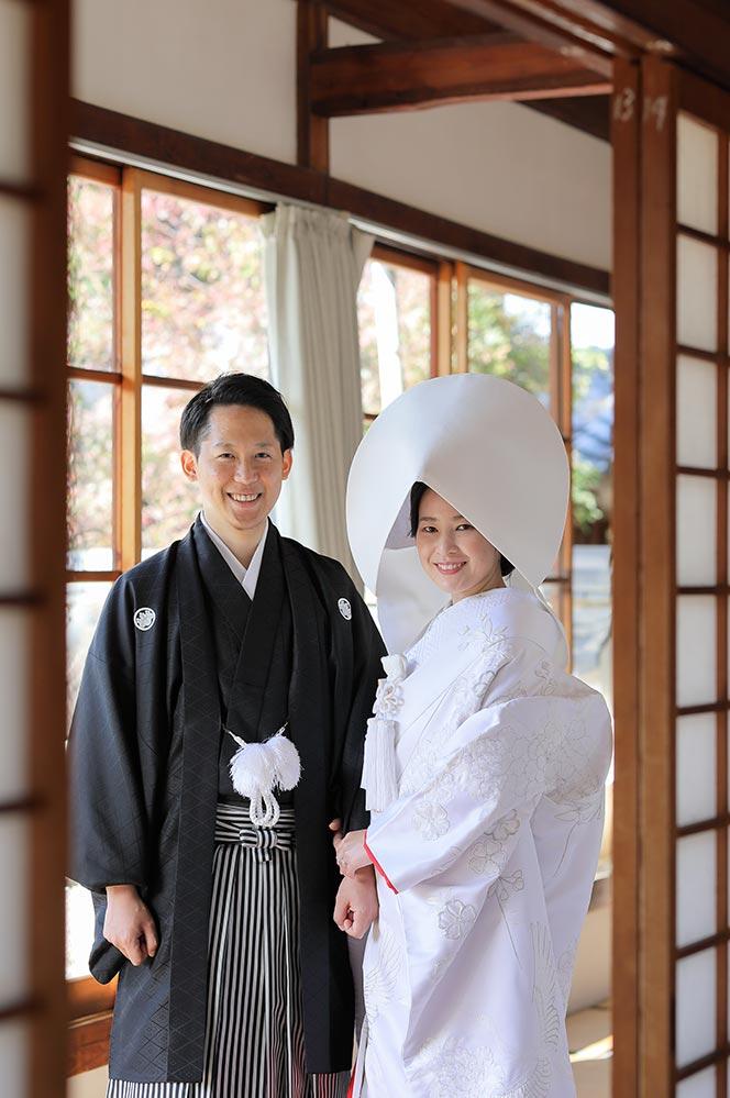 白無垢綿帽子姿で京都で後撮り
