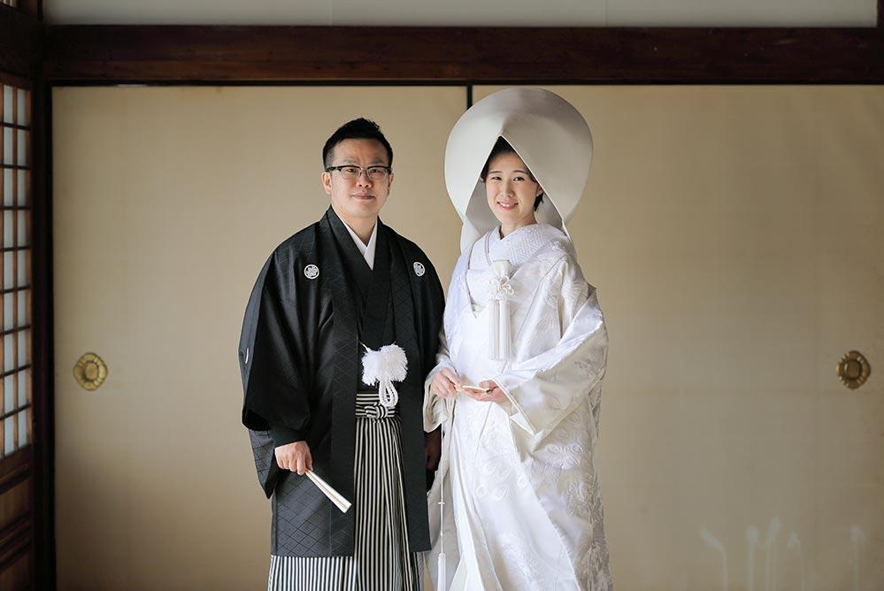 綿帽子姿での京都フォトウェディング