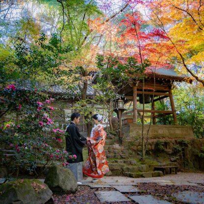 京都の紅葉と和装ロケーション撮影