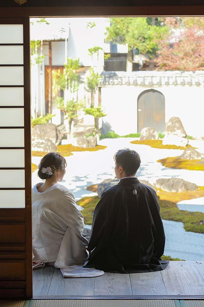 京都の枯山水でのロケーションフォト