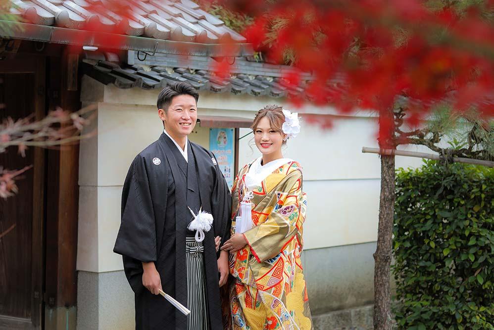 京都の紅葉と和装フォトウェディング