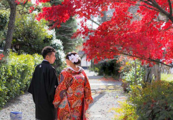 京都の紅葉と和装前撮りお写真