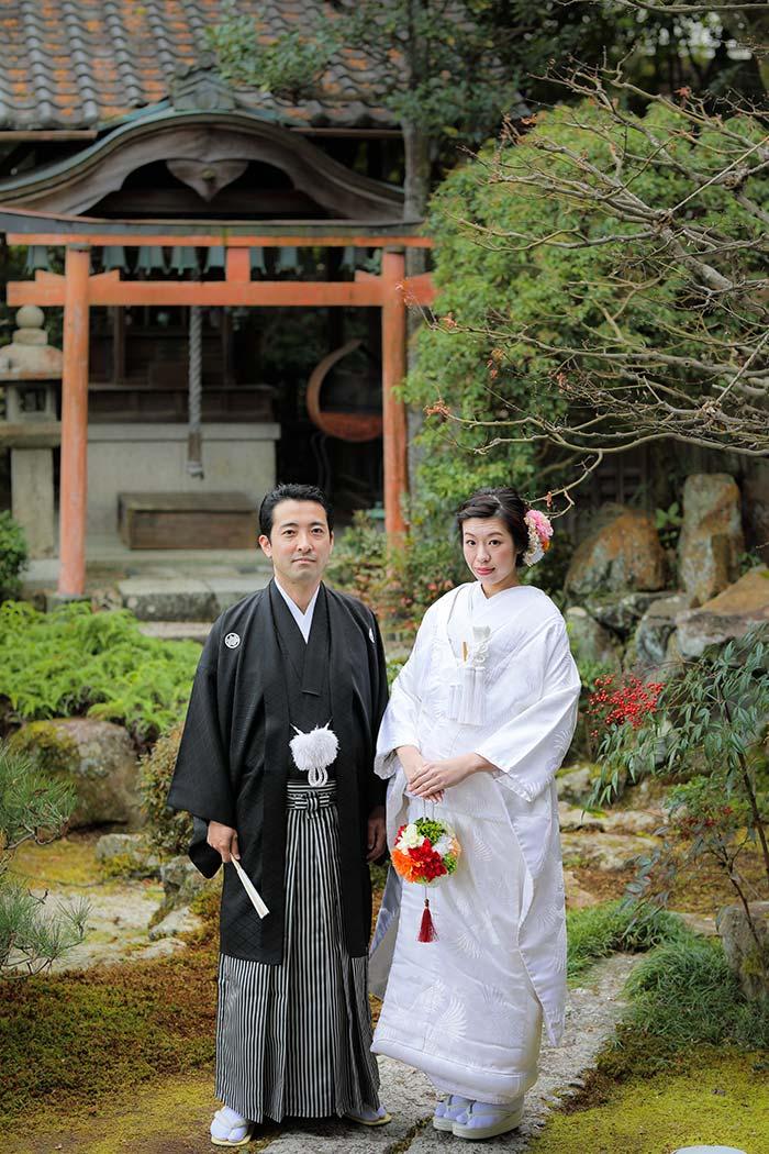 1月の京都和装婚礼写真のカップル様