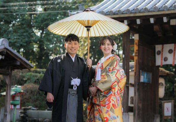 冬の京都で和装前撮りカップル様