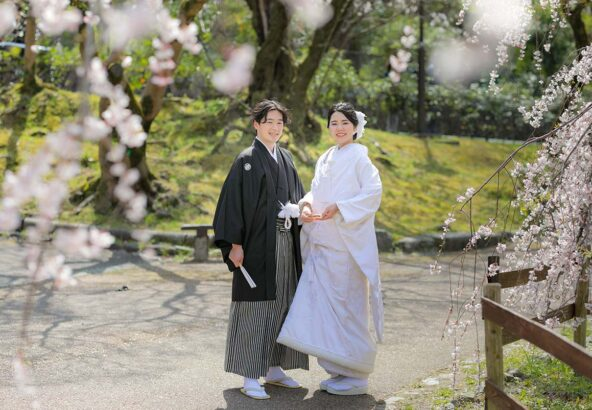 円山公園の桜と白無垢でフォトウェディング