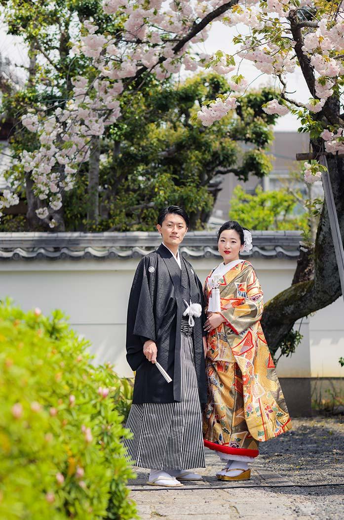 八重桜と白壁を背景に和装婚礼写真