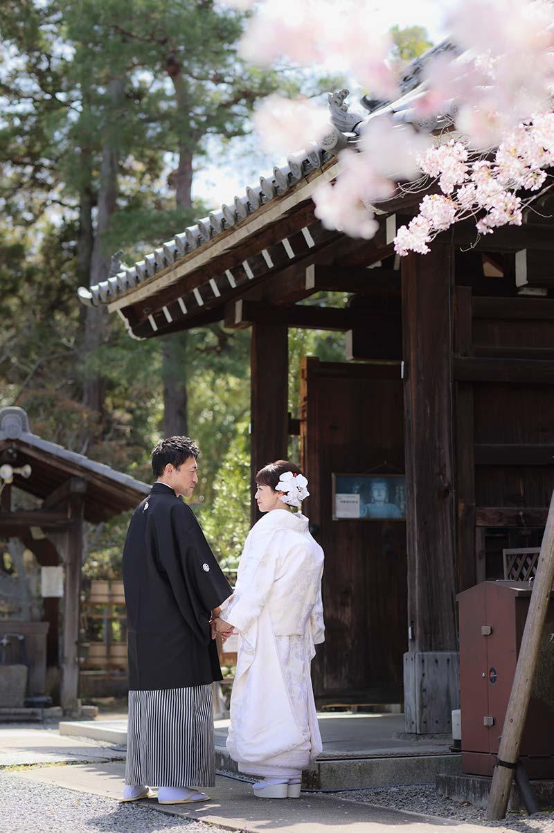 白無垢&羽織袴姿で振り返りの前撮りショット