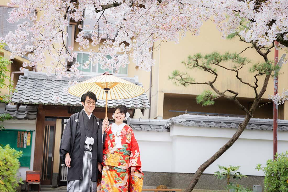 雨の京都で桜と前撮りカップル様