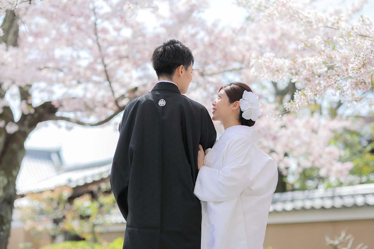 桜を背景に寄り添いあう新郎新婦様の後ろ姿