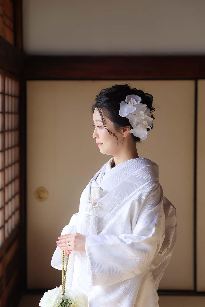 胡蝶蘭を使用した花嫁様のヘアセット