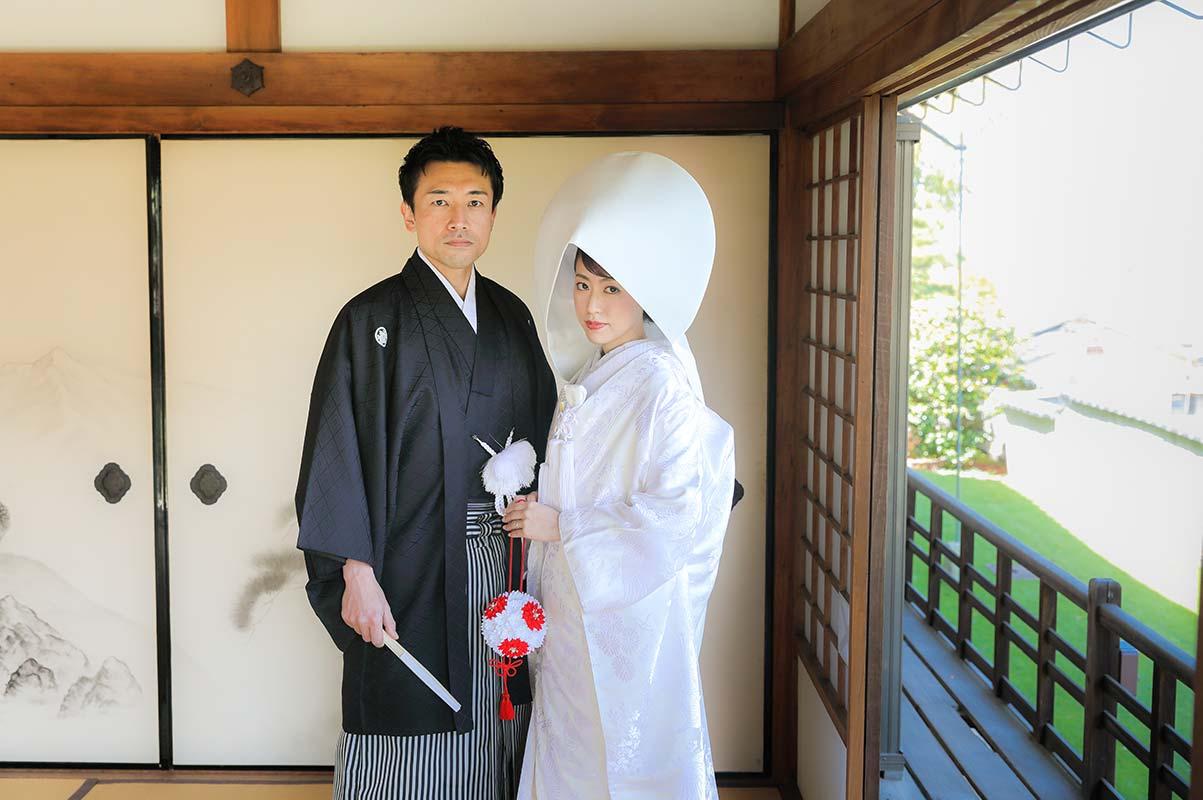 戒光寺お茶室での綿帽子のお写真