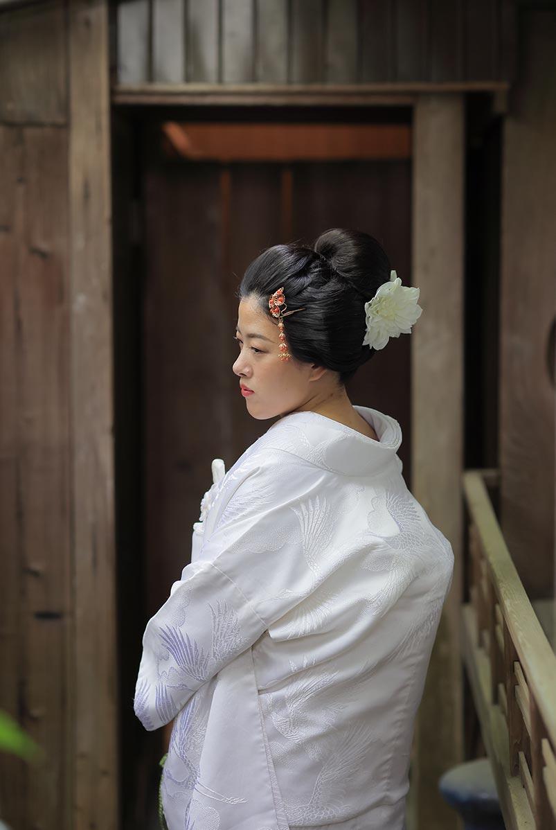 新日本髪での京都の白無垢前撮りお写真