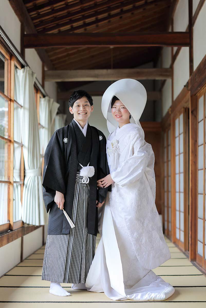 綿帽子姿で笑顔で撮影