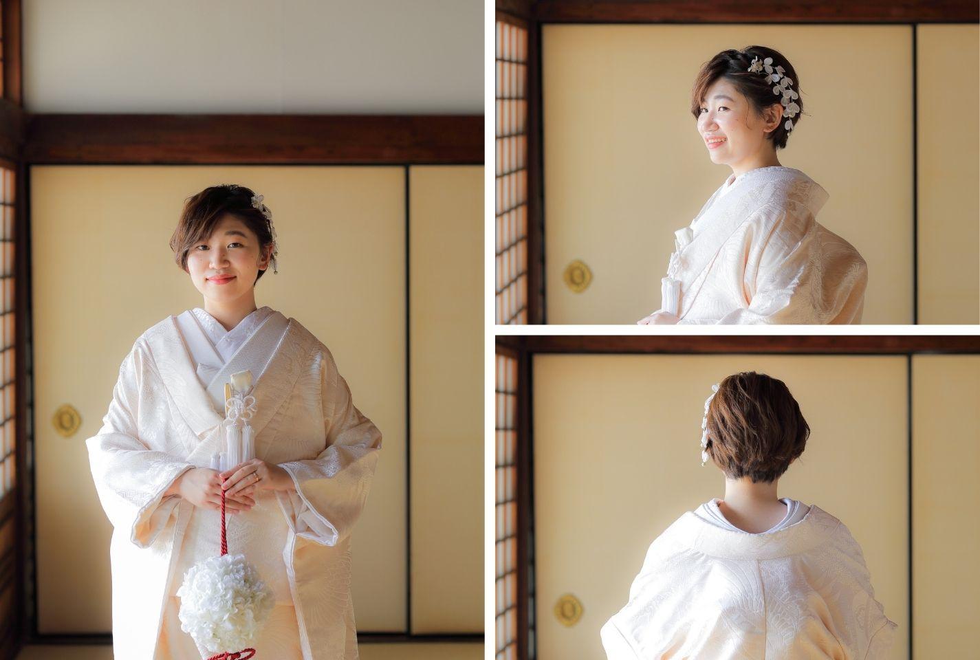 ショートカットの花嫁様のスタイル見本